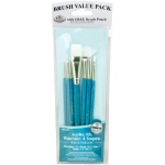 Royal & Langnickel® 9100 Series  Zip N' Close™ Teal Blue 7-Piece Brush Set 10: Short Handle, Taklon, Fan, Glaze, Liner, Round, Shader, Acrylic, Oil, Tempera, Watercolor