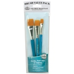 Royal & Langnickel® 9100 Series  Zip N' Close™ Teal Blue 3-Piece Brush Set 14: Short Handle, Taklon, Glaze, Acrylic, Tempera, Watercolor, (model RSET-9185), price per set