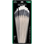 Royal & Langnickel® White Taklon Flat Brush Set: Multi, White Taklon, Flat, Multi, Multi, (model RSET-9605), price per set