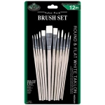 Royal & Langnickel® White Taklon Round & Flat Brush Set: Multi, White Taklon, Multi, Multi