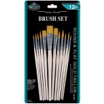 Royal & Langnickel® Gold Taklon Round & Flat Brush Set: Multi, Gold Taklon, Multi, Multi, (model RSET-9612), price per set
