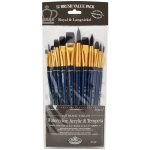 Royal & Langnickel® 9300 Series  Zip N' Close™ 12-Piece Black Taklon Brush Set 2: Short Handle, Taklon, Bright, Filbert, Flat, Round, Acrylic, Tempera, Watercolor