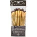 Royal & Langnickel® 9300 Series  Zip N' Close™ 12-Piece Brown Taklon Brush Set 1: Short Handle, Taklon, Angular, Bright, Filbert, Flat, Round, Acrylic, Tempera, Watercolor