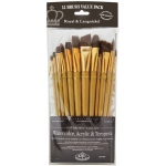 Royal & Langnickel® 9300 Series  Zip N' Close™ 12-Piece Brown Taklon Brush Set 2: Short Handle, Taklon, Angular, Bright, Fan, Filbert, Flat, Round, Acrylic, Tempera, Watercolor, (model RSET-9304), price per set