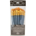 Royal & Langnickel® 9300 Series  Zip N' Close™ 12-Piece Gold Taklon Brush Set 3: Short Handle, Taklon, Angular, Bright, Fan, Filbert, Flat, Round, Acrylic, Tempera, Watercolor, (model RSET-9307), price per set