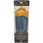 Royal & Langnickel® 9300 Series  Zip N' Close™ 12-Piece Gold Taklon Long Brush Set 1: Long Handle, Taklon, Angular, Bright, Fan, Filbert, Flat, Round, Acrylic, Tempera, Watercolor