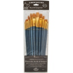 Royal & Langnickel® 9300 Series  Zip N' Close™ 12-Piece Gold Taklon Long Brush Set 2: Long Handle, Taklon, Angular, Bright, Filbert, Flat, Round, Acrylic, Tempera, Watercolor
