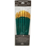 Royal & Langnickel® 9300 Series  Zip N' Close™ 12-Piece White Taklon Long Brush Set: Long Handle, Taklon, Angular, Bright, Fan, Filbert, Flat, Round, Acrylic, Tempera, Watercolor, (model RSET-9316), price per set