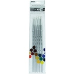 Liquitex® Basics 5-Piece Brush Pack Long Handle: Long Handle, Bright, Filbert, Flat, Round, Acrylic, (model 692002), price per set