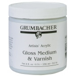 Grumbacher® Gloss Medium and Varnish for Acrylics: Gloss, Jar, 8 oz, Varnish