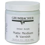 Grumbacher® Matte Medium and Varnish for Acrylics: Matte, Jar, 8 oz, Varnish