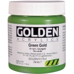 Golden® Heavy Body Acrylic 4 oz. Green Gold: Green, Metallic, Jar, 118 ml, 4 oz, Acrylic, (model 0001170-4), price per each