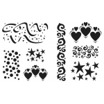 "Cedar Canyon Textiles Celebrate Stencils: Blue, 7 1/2"" x 9 1/2"", Patterned Stencil, (model CCT713), price per set"
