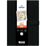 "Canson® ArtBook™ 180° 8-3/10"" x 11-7/10"" Spineless Book: Sewn Bound, White/Ivory, Book, Black/Gray, 80 Pages, 8 1/4"" x 11 3/4"", Drawing, 65 lb"