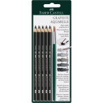 Faber-Castell® 5-Piece Graphite Pencil Set: Black/Gray, 3.8mm, Watercolor, (model FC117897), price per set