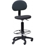 "Mayline® Multi-task Drafting Chair with Foot Ring: No, Black/Gray, Foot Ring Included, 24"" - 29"", 30"" & Up, Under 24"", Fabric, (model 2660), price per each"