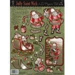 "Hot Off the Press 3-D Papier Tole Die Cuts Jolly St. Nick: Multi, 8 1/2"" x 11"", Dimensional, (model HOTP8017), price per each"