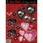 "Hot Off the Press 3-D Papier Tole Die Cuts Fancy Hearts: Multi, 8 1/2"" x 11"", Dimensional"