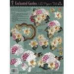"Hot Off the Press 3-D Papier Tole Die Cuts Enchanted Garden: Multi, 8 1/2"" x 11"", Dimensional, (model HOTP8008), price per each"
