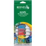 Reeves™ 10ml Acrylic 12-Color Set: Multi, Tube, 10 ml, Acrylic, (model 8493200), price per set