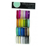 American Crafts Ribbon Value Pack: Solid Satin, Color Set 1, 24 Spools