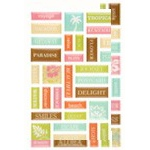 Making Memories Tropical Travel Pebble Colorboard Too Alpha Stamp Stickers: Word / Icons