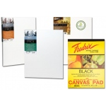 "Fredrix® 18"" x 24"" Black Canvas Pad: Black/Gray, Pad, 18"" x 24"", Primed, (model T35031), price per pad"