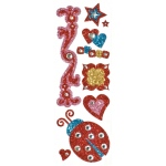 "Blue Hills Studio™ ColorStories™ Glitter Bling Stickers Red: Red/Pink, Glitter, 2"" x 5 3/4"", Flat"