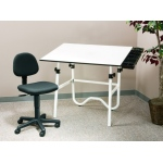 "Alvin® CC Series Creative Center White or Black Base with Office Chair: 0 - 45, Black/Gray, White/Ivory, Steel, 29"" - 44"", White/Ivory, Melamine, 30"" x 42"", (model CC2001A3), price per each"