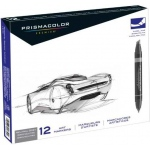 Prismacolor® Premier Chisel Marker Neutral Grey Set 12CT: Black/Gray, Double-Ended, Alcohol-Based, Dye-Based, Extra Broad Nib, Fine Nib, (model SN1850655), price per set