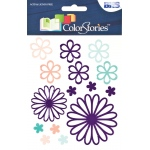 "Blue Hills Studio™ ColorStories™ Glossy Embossed Daisy Stickers Purple: Purple, Gel, 4 3/4"" x 5 3/4"", Dimensional"