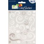 "Blue Hills Studio™ ColorStories™ Epoxy Swirl Stickers White: White/Ivory, Epoxy, 4 3/4"" x 5 3/4"", Dimensional"