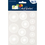 "Blue Hills Studio™ ColorStories™ Gel Outline Daisy Stickers White: White/Ivory, Gel, 4 3/4"" x 5 3/4"", Dimensional"