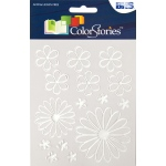 "Blue Hills Studio™ ColorStories™ Glossy Embossed Daisy Stickers White: White/Ivory, Gel, 4 3/4"" x 5 3/4"", Dimensional"