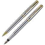 X-Pen® Novo Ballpoint and Fountain Pen Set: Black/Gray, Ballpoint, Fountain