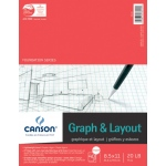 "Canson® Foundation Series 8.5"" x 11"" Graph and Layout Sheet Pad: Fold Over, White/Ivory, Pad, 40 Sheets, 8 1/2"" x 11"", Lightweight, (model C100510895), price per 40 Sheets pad"
