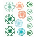 "Blue Hills Studio™ ColorStories™ Gel Outline Daisy Stickers Green: Green, Gel, 4 3/4"" x 5 3/4"", Dimensional"