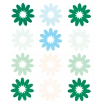 "Blue Hills Studio™ ColorStories™ Flocked Daisy Stickers Green: Green, Flock, 4 3/4"" x 5 3/4"", Flat"
