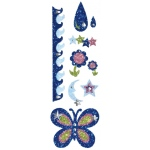 "Blue Hills Studio™ ColorStories™ Glitter Bling Stickers Blue: Blue, Glitter, 2"" x 5 3/4"", Flat"