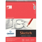 "Canson® Foundation Series 11"" x 14"" Wire Bound Sketch Pad: Wire Bound, White/Ivory, Pad, 50 Sheets, 11"" x 14"", Smooth, (model C100511030), price per 50 Sheets pad"