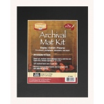 "Heritage Arts™ Archival Series 11"" x 14"" Pre-Cut Single Layer Black Mat Kit: Black/Gray, Frame, Pre-Cut Mat Board, 11"" x 14"", 1/16"", Presentation Board, (model H1114ASB), price per each"