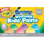 Crayola® Washable Paint 6-Color Metallic Set: Metallic, Bottle, 2 oz, Washable, (model 54-5000), price per set