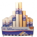 "Alvin® Lightweight Tracing Paper Roll Display: White/Ivory, Yellow, Roll, 58 Rolls, 12"" x 50 yd, 14"" x 50 yd, 18"" x 50 yd, 24"" x 50 yd, Smooth, Tracing, (model 55-DISP), price per each"