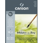 "Canson® Moulin du Roy 11 4/5"" x 15 7/10"" Watercolor Cold Press Pad: White/Ivory, Pad, Sheet, 12 Sheets, 11.8"" x 15.7"", Cold Press, Watercolor, 140 lb, (model C400028951), price per 12 Sheets pad"