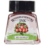 Winsor & Newton™ Drawing Ink 14ml Scarlet: Red/Pink, Bottle, 14 ml, Drawing Ink, (model 1005601), price per each