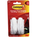 Command™ White Medium Designer Hooks: White/Ivory, Plastic, Hooks, (model 17081), price per pack