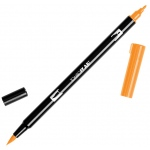 Tombow® Dual Brush® ABT Pen Orange: Orange, Double-Ended, Dye-Based, Brush Nib, Fine Nib, Brush Pen, (model 56609), price per each