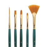 Winsor & Newton™ Regency Gold Series 550 Filbert Short Handle Brush #8: Short Handle, Taklon, Filbert, Acrylic, Oil