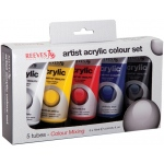 Reeves™ Acrylic 5-Color Set: Multi, Tube, 75 ml, Acrylic, (model 8340901), price per set