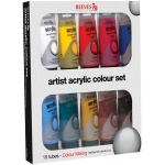 Reeves™ Acrylic 10-Color Set: Multi, Tube, 75 ml, Acrylic